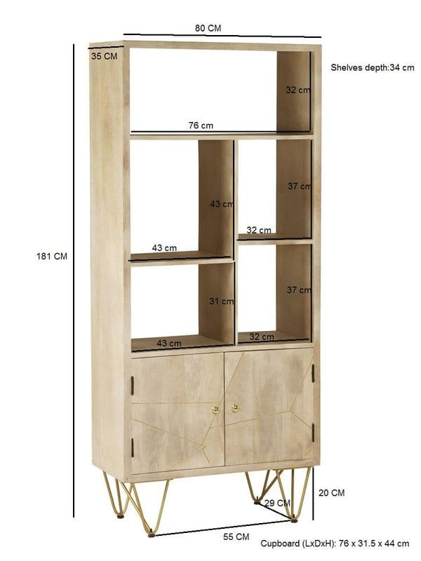 Brecon Light Mango Wood Large 2 Door Bookcase | Solid mango wood tall 2 door, 5 shelf bookcase with metal inlays and hairpin legs.